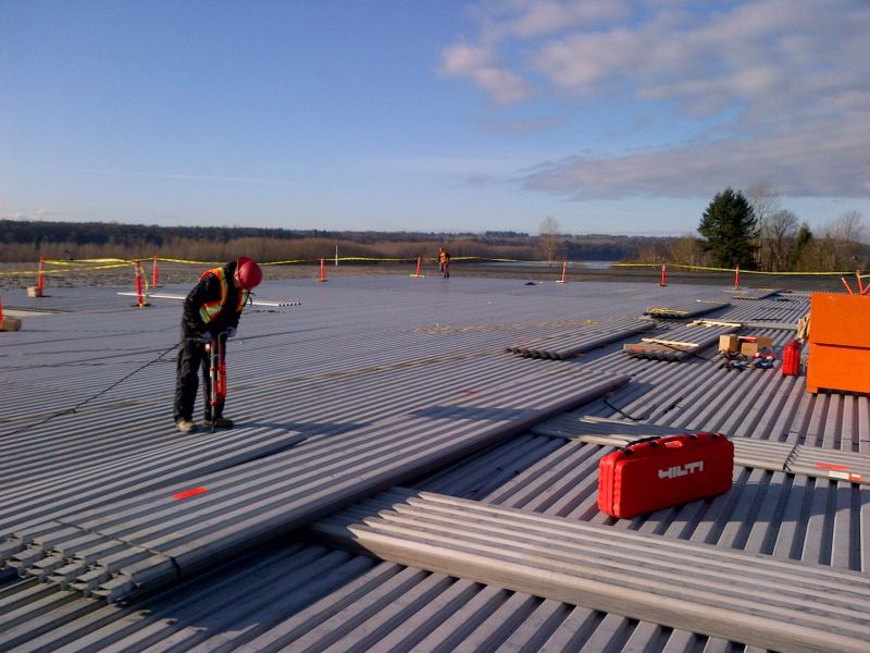 metal decking installation at Walmart