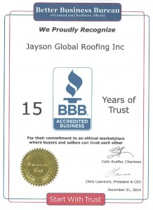Better Business Bureau proudly recognize Jayson Global Roofing Inc - BBB Certificate