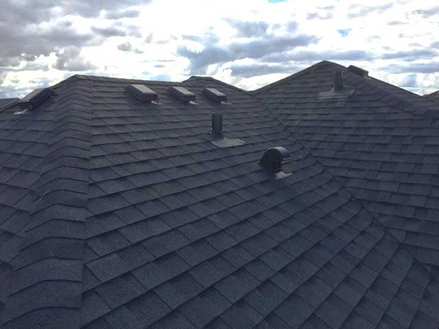 close up view of steep slope roof in Edmonton