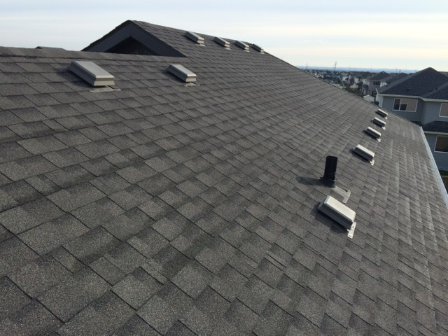 finished shingle roof after roof inspection and maintenance